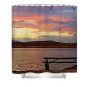 Sunset Lake Picnic Table View  Shower Curtain