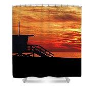 Sunset Lifeguard Station Series Shower Curtain