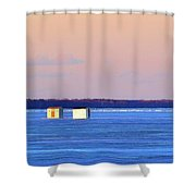 Sunset Light On The Ice Fishing Huts 2  Shower Curtain