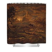 Sunset Near Arbonne , Theodore Rousseau Shower Curtain