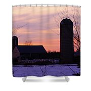 Sunset On A Dairy Farm Shower Curtain by Kathy DesJardins