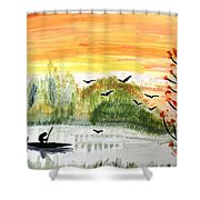 Sunset On A Lake Shower Curtain