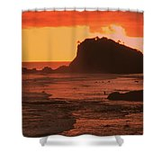 Sunset On A Rocky Coast Shower Curtain