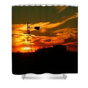 Sunset On A Windmill Jal New Mexico Shower Curtain