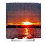 Sunset On A Yacht  Shower Curtain