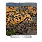 Sunset On Boulders Of Bentonite Site On Little Park Road Shower Curtain