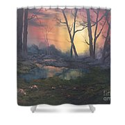 Sunset On Cannock Chase  Shower Curtain