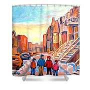 Sunset On Hotel De Ville Street Montreal Shower Curtain