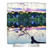 Sunset On Kenoza Lake Haverhill Ma Reflection Shower Curtain