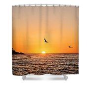 Sunset On Monterey Beach Shower Curtain