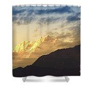 Sunset On Mount Kanchenjugha At Dusk Sikkim Shower Curtain