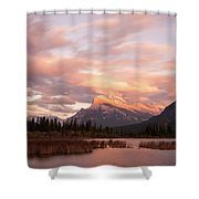 Sunset On Mount Rundle Shower Curtain