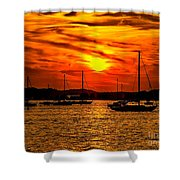 Sunset On Muskegon Lake Shower Curtain