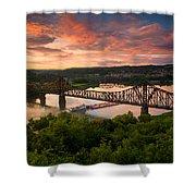 Sunset On Ohio River  Shower Curtain