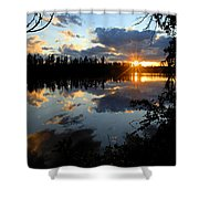 Sunset On Polly Lake Shower Curtain by Larry Ricker
