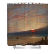 Sunset On The Beach At Sark Shower Curtain