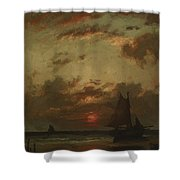 Sunset On The Coast 1870 Shower Curtain