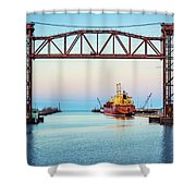 Sunset On The Port Of Chicago Waterfront Shower Curtain