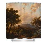 Sunset On The Rhine , Barend Cornelis Koekkoek Shower Curtain