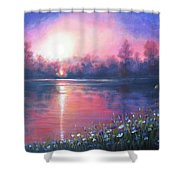 Sunset On The River Shower Curtain