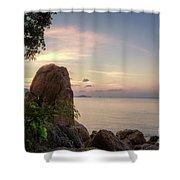 Sunset On The Rocks Shower Curtain