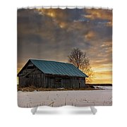 Sunset On The Snowy Fields Shower Curtain