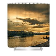 Sunset On The Willamette River Shower Curtain