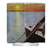 Sunset On The York River Shower Curtain