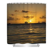 Sunset On Two Masts  Shower Curtain