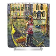 Sunset On Venice - The Gondolier Shower Curtain
