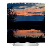 Sunset On Willow Pond Shower Curtain