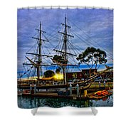 Sunset Over A Tall Ship Shower Curtain