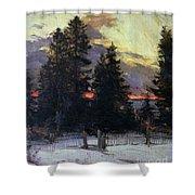 Sunset Over A Winter Landscape Shower Curtain by Abram Efimovich Arkhipov