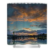 Sunset Over Boat Ramp At Anacortes Marina Shower Curtain