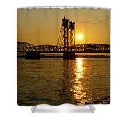 Sunset Over Columbia Crossing I-5 Bridge Shower Curtain