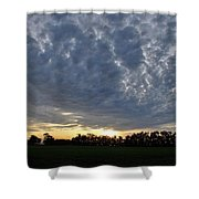 Sunset Over Farm And Trees - Distant View Shower Curtain