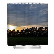 Sunset Over Farm And Trees Shower Curtain