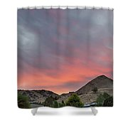 Sunset Over Farmland In Central Oregon Shower Curtain