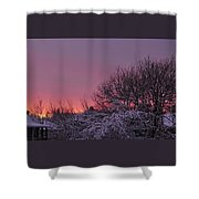 Sunset Over Fresh Snow Shower Curtain