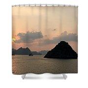 Sunset Over Halong Bay - Vietnam  Shower Curtain