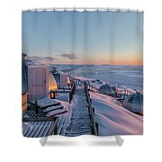 sunset over Igloos - Greenland Shower Curtain