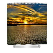 Sunset Over Lake Palestine Shower Curtain