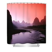 Sunset Over Li River Shower Curtain