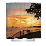 Sunset Over Lynch Park Beverly Ma Water Tower Shower Curtain