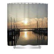 Sunset Over Marina  Shower Curtain
