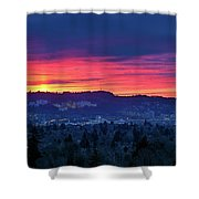 Sunset Over Marquam Hill Shower Curtain