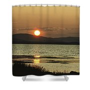 Sunset Over Mountains And Water Shower Curtain