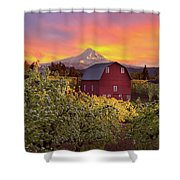 Sunset Over Mt Hood And Red Barn Shower Curtain