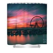 Sunset Over National Harbor Ferris Wheel Shower Curtain