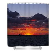 Sunset Over North Meadow Island Shower Curtain
